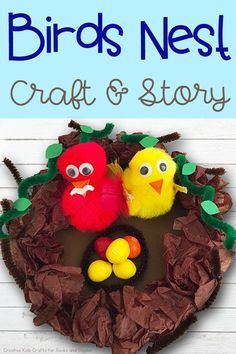 Easy Crafts for Kids - Birds Nest Craft - Quick DIY Ideas for Children - Boys and Girls Love These Cool Craft Projects - Indoor and Outdoor Fun at Home - Cheap Playtime Activities Preschool Art Projects, Diy Projects For Kids, Easy Crafts For Kids, Craft Activities For Kids, Book Activities, Preschool Activities, Diy For Kids, Fun Crafts, Craft Projects