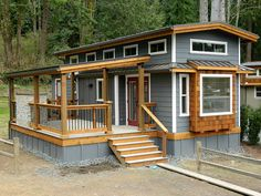 The Wildwood Cottage: a luxury vacation home from West Coast Homes. - The Wildwood Cottage: a luxury vacation home from West Coast Homes. Best Picture For Home diy befo - Tiny House Cabin, Tiny House Living, Tiny House Plans, Tiny House Design, Cottage House, House Deck, Tiny House Movement, Minimaliste Tiny House, Park Model Homes