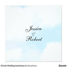 Clouds Wedding Invitations #marriage #brideandgroom #married #cloudy blue and white