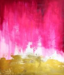 Large scale abstract Painting and Fine Art Prints - Contemporary Modern Art - magenta and gold