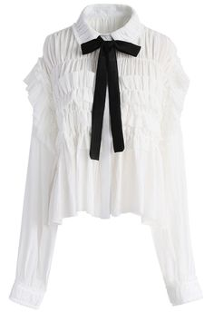 Ruffle Around Crepe Shirt in White - New Arrivals - Retro, Indie and Unique Fashion