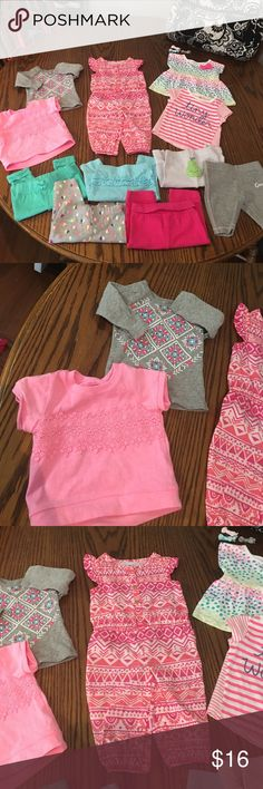 🍐 Outfit Lot 12 Pieces 🍐 EUC or NWOT! 4 shirts (3 short sleeve + 1 long sleeve) 1 full length romper/ jumper & 7 pairs of pants! All different brands. The pink pants are yoga pants! How cute!!! Like another item from another listing? Let me know! I will switch them around! Carter's Shirts & Tops Tees - Short Sleeve