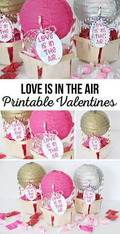 Love is in the Air Printable Valentine Tag attached to DIY Hot Air Balloons via @craftingchicks