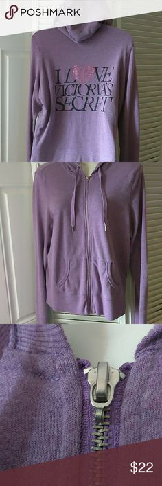 VS purple angel hoodie Zip up VS hoodie  Light purple with a jeweled heart on the back  Flaws: the small angel wing that is usually on the zipper is missing (picture 3) & there is a small discoloration inside of the hood (last picture)  Which is reflected in the price  Other than that there are no other flaws Victoria's Secret Tops Sweatshirts & Hoodies