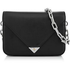 Alexander Wang Prisma Envelope Small Sling Bag (10.152.930 IDR) ❤ liked on Polyvore featuring bags, handbags, black, genuine leather purse, chain purse, leather hand bags, leather handbags and handbags purses