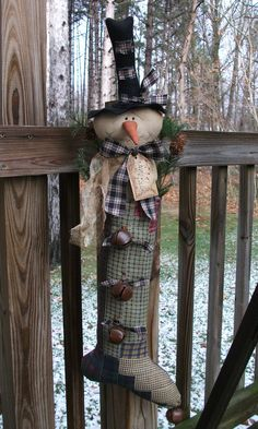 PrimiTive ChrisTmas SNOWMAN Doll Old Quilt STOCKING BooT Door WinTer Decoration…