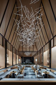 Jinan Bocuishan Sales Center: Chinese Artistic Conception and Eastern Charm by Beijing Fenghemuchen Space Design Lobby Interior, Restaurant Interior Design, Hotel Lobby Design, Modern Hotel Lobby, Public Hotel, Hotel Lounge, Lobby Lounge, Hotel Reception, Office Reception
