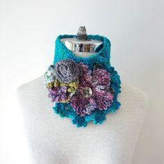 Floral scarf in turquoise pink with a by ValerieBaberDesigns