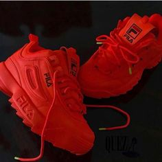 Red Fila Shoes, Vans Shoes, Shoes Sneakers, Sneakers Fashion, Fashion Shoes, Cute Sneakers, Aesthetic Shoes, Fresh Shoes, Hype Shoes
