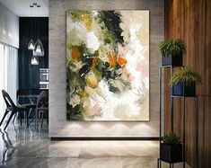 Extra Large Wall Art, Floral Bronze Copper Painting on Canvas,Expressionism, Textured Painting Extra Large Wall Art Modern Wall Decor Large Artwork, Large Canvas Art, Extra Large Wall Art, Colorful Artwork, Large Painting, Texture Painting, Abstract Canvas, Knife Painting, Large Abstract Wall Art