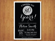 80th Birthday Invitation. Black and Silver by happyappleprinting