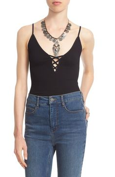 Main Image - Free People Lace-Up Rib Knit Camisole