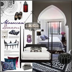 Moroccan Dream by szaboesz on Polyvore featuring interior, interiors, interior design, home, home decor, interior decorating, Ethan Allen, Nostalgia Home Fashions, Kevin O'Brien and Free People