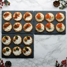 Delight your party guests with these festive canapés, all topped with smooth Philadelphia cheese Easy Canapes, Canapes Recipes, Appetizer Recipes, Canapes Ideas, Catering Recipes, Party Food Buffet, Party Food Platters, Canape Food, Finger Food Appetizers