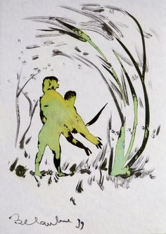 Playing in the Wood original drawing a great by CyranoArtGallery