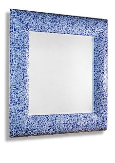 French Blue and White Tile | Anglais Modern Blue and White Square Mosaic Mirror