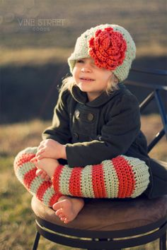 Crochet Baby Legwarmers, Baby, Toddler, Child, Mint and Coral Stripe. $26.00, via Etsy.