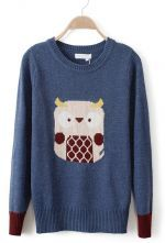 Blue Long Sleeve Owl Pattern Cartoon Sweater $39.68 #topshoppromqueen