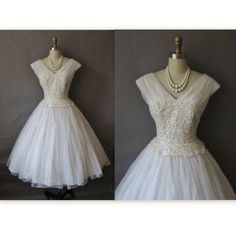 50's Wedding Dress // Vintage 1950's White Sequin Chiffon Wedding Dress S M