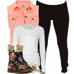 "Long-Sleeve White Shirt, Black Tights, Pink Denim Vest, Gold Studs, Floral Dr. Martens, ""Love"" Ring"