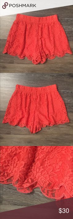 Free People Pink Lace Scalloped Shorts Size XS Free People Pink Lace Scalloped Shorts Size XS, in great condition! Super comfortable elastic waistband, Flowy lace fabric with scalloped edges, Material: shell is 60% Nylon/35% Polyester/5% Spandex and lining is 100% Polyester Free People Shorts