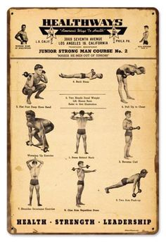 Healthways Gym Workout Exercise Vintage Metal Sign Retro 18 x 12 Steel not Tin Antique Signs, Vintage Metal Signs, Strength And Conditioning Workouts, Circus Strongman, Wolf Warriors, Gym Workout Tips, Training Workouts, Workout Quotes, Home Gym Design