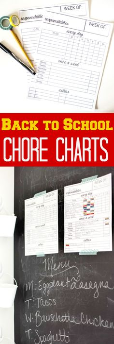 Back to School Chore Chart for Kids