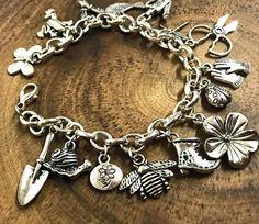 Garden Lover Charm Bracelet  Silver gardener gardener's