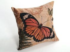 "Createforlife Home Decor Cotton Linen Square Throw Pillow Case Cushion Cover Orange Butterfly Romance 18"" x 18"" Createforlife http://www.amazon.com/dp/B00EDZIEUG/ref=cm_sw_r_pi_dp_7J1kub01HV4SK"