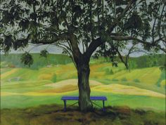 The Blue Bench Canvas Print by Harald Sohlberg Oil On Canvas, Canvas Prints, Topiary, Time Travel, Norway, Scandinavian, Country Roads, Fine Art, Wall Art