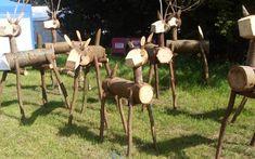 little wooden dear ornaments for the garden