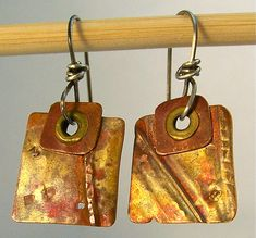 Handmade copper jewelry / Square Copper Earrings