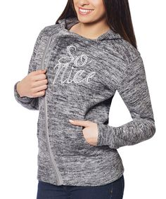Take a look at this So Nice Collection Charcoal Melange 'So Nice' Asymmetrical Hoodie today!