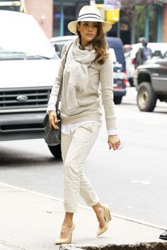 Jessica Alba. Great street style. Head to toe cream