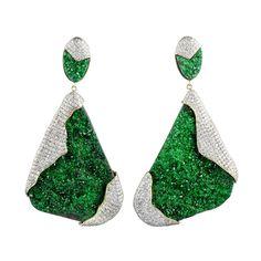 Kara Ross Petra One-of-a-Kind Earrings in Uvarovite and Pave Diamonds - Shop Luxury Jewelry | Editorialist