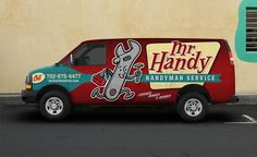 Retro and vintage styled truck wrap design for a handyman in Las Vegas.