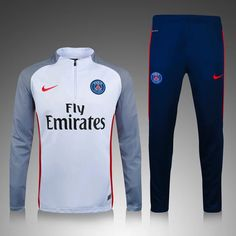 PSG 2016/17 White with Blue Men Tracksuit Slim Fit - zorrojersey