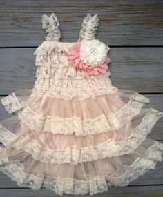 Lace Flower Girl Dress/Shabby Chic Flower Girl /Flower Girl/Country Wedding-Pinky Blush Flower Girl Dress-Shabby Chic Dress-Chest