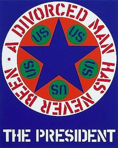 ROBERT INDIANA (1928- ) Indiana's work has evolved into hard-edged graphic images of words, logos and typographic forms, earning him a reputation as one of the country's leading contemporary artists.