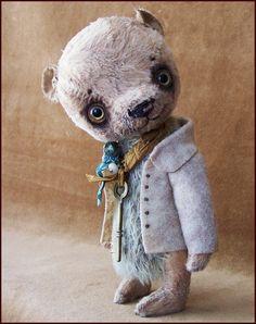Alla beren kunstenaar Vintage oude teddybeer gekleed OOAK handgemaakte toy baby kunst pop gevuld Retro antiek zijde aangepaste decor