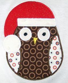 Christmas Owl Applique Design.