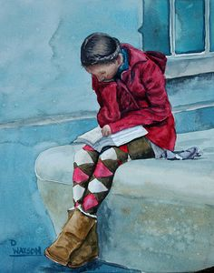 "Deb Watson, ""Reading in Red"", 2012 - 8 x 10"" watercolor on masonite aquabord, varnished - #reading #books"