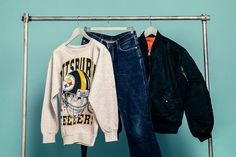 Retrock - Retrock - cutting edge fashion from Budapest based vintage & designer shop Jacket Jeans, Bomber Jacket, Gucci Jeans, Look Man, Vintage Designs, Jumper, Vintage Outfits, Collage, Sweaters