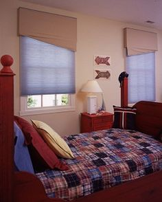 Child Safe cordless blue cellular blinds great for a boy's nursery. Bathroom Window Treatments, Bathroom Blinds, Bathroom Windows, Cellular Blinds, Cellular Shades, Best Blinds, Nursery Curtains, Blue Colour Palette, Shades Blinds