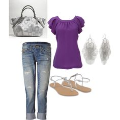 dressy casual by andwegodancing on Polyvore like the purple shirt
