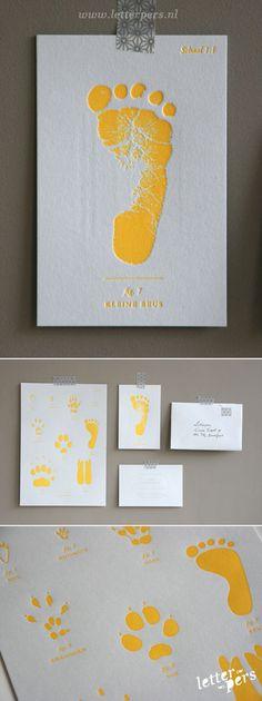letterpers_letterpress_geboortekaartje_Boris_geel,-voetafdruk_fluor_neon_speciaal-kaartje