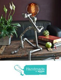 Industrial Look - 26 stylish furniture made of pipe connectors- Industrial Look – 26 stylische Möbel aus Rohrverbindern Interesting industrial style lamp - Decor, Industrial Decor, Industrial Furniture, Interior, Steampunk Lamp, Lamp, Industrial Style Lamps, Home Decor, Diy Lamp