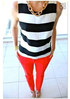 Stitch fix 2016 bold black and white stripe top to go with misprinted pants or shorts!