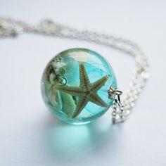 The Mermaid's Necklace 13 Nautical Jewelry Resin Starfish Tiny Seashells Aqua Specimen Necklace Fairy Tale Fantasy Unique Handmade
