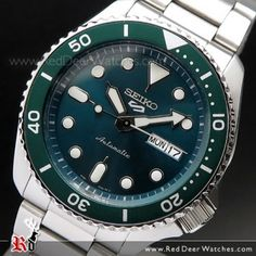 Seiko 5 Sports Green Dial Stainless Steel 100M Automatic Watch SRPD61K1, SRPD61 Seiko 5 Automatic, Automatic Watch, Sport Watches, Watches For Men, Seiko 5 Military, Seiko Sportura, Seiko Solar, Seiko 5 Sports, Seiko Watches